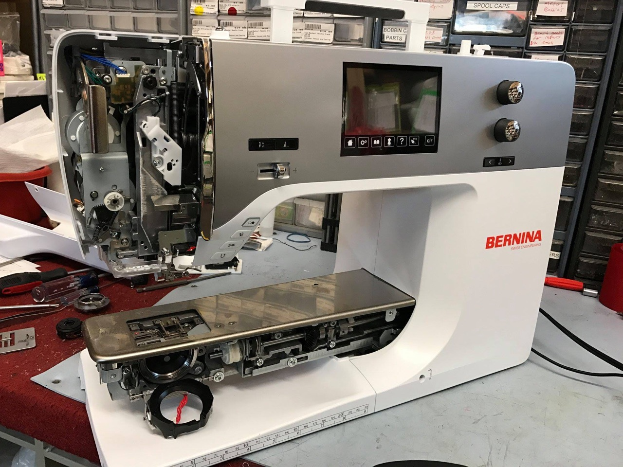 Bernina sewing machine being repaired